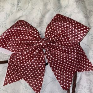 Pink and white shimmery cheer bow